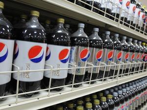 Diet Pepsi bottles in a store in the US