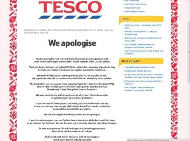 pr case study tesco horsemeat scandal 2015-04-14 crisis management for food marketing – the case of the 2013 european horsemeat scandal  methodology – the case study.
