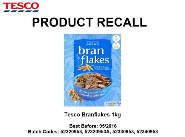 sainsbury s and tesco recall own label bran flakes