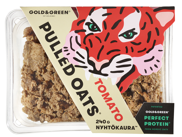 Gold & Green pulled oats plant-based meat alternative pack shot