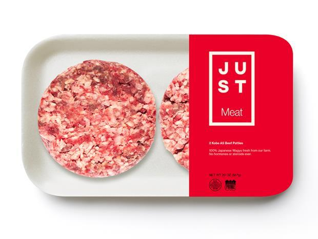 Just Beef lab-grown cultured beef burgers concept shot
