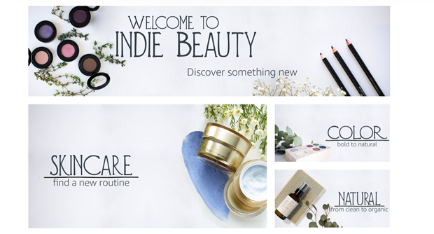 Amazon indie beauty store screenshot