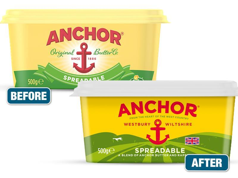 Anchor butter gets British-focused packaging overhaul