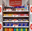 shop shelf offers marketing value supermarket