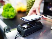 customer paying with smartphone