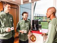 Nemanja Matic, Juan Mata and Ashley Young enjoy Melitta coffee at the AO