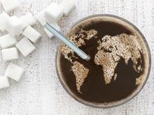 focus on soft drinks, lead, fizz in shape of world