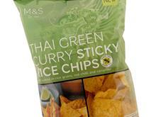 thai green curry sticky rice chips