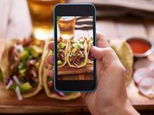 taking picture of food on phone instagram mexican