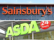 Asda and Sainsbury's merger composite shot with horizontal split