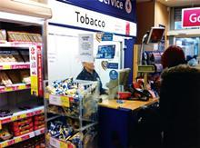 Cigarette and tobacco display in newsagent