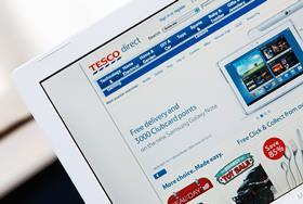 Tesco Direct website shown on a laptop screen_ONE USE ONLY