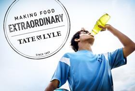 Tate & Lyle lifestyle shot of a young man drinking a sports drink, with logo
