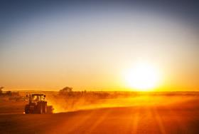 farming field tractor sunset