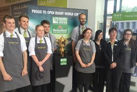waitrose staff rugby world cup trophy heineken