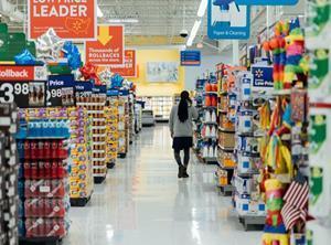 customer walmart supermarket aisle promos