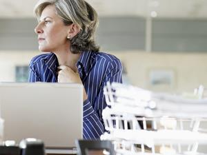 business woman at laptop in office