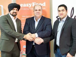 Easyfood's Gurpreet Sidhu, Sir Stelios Haji-Ioannou and Jeewan Sagu