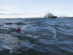 Plastic bottle in the sea