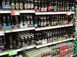 Premium bottled ale aisle