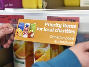 Sainsburys food bank labels