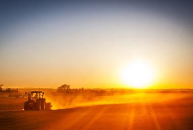 farming field tractor sunset