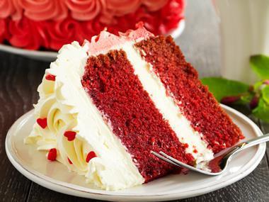 Slice of red velvet cake