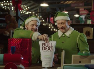 Bulldog Awkward Elves Christmas ad