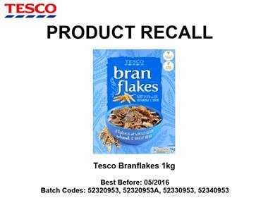 Tesco branflakes recall