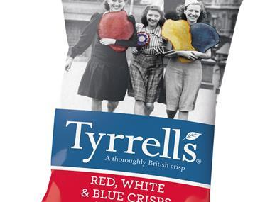 Tyrrells crisps red white and blue