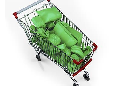 Green goods in trolley