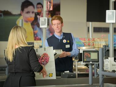 lidl staff and customer