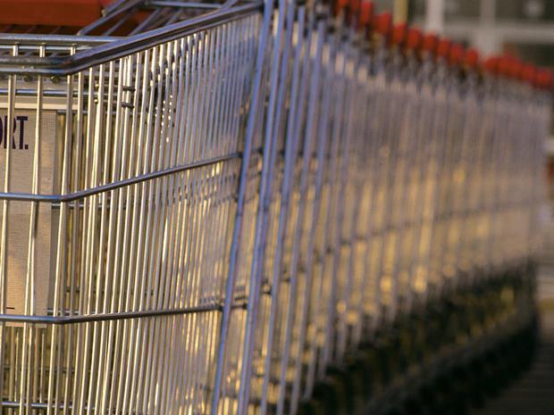 Supermarket trolleys stacked together_generic