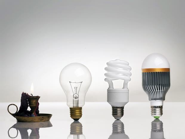4 types of light sources: Fire, incandescent, CFL, and LED light bulbs